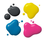 Splattered cmyk ink Royalty Free Stock Images
