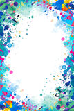 Splattered frame. Colorful abstract watercolor splattered frame stock illustration