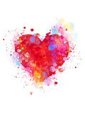 Splattered heart. Colorful splattered heart on white background Royalty Free Stock Photos