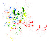 Splattered paint. Beautiful multi-colored splattered water color paints Stock Photo