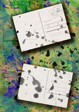 Splattered postcards collage Royalty Free Stock Image