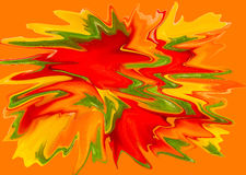 Splattered red,green and yellow paint. With orange background stock photography