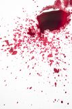Splattered red paint isolated on white background. Close up of red paint drops on white background stock photos