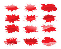 Splatters. Vector red splatter clouds on white background Stock Image