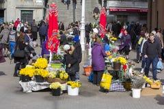 Splavnica, famous flower market in Zagreb Stock Photos