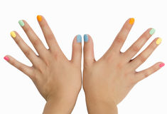 Splayed palce z barwionym gwoździa połyskiem Zdjęcia Royalty Free
