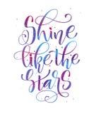 Splenda come le stelle - la mano colorata spazio scrive la frase moderna di motivazione di calligrafia royalty illustrazione gratis
