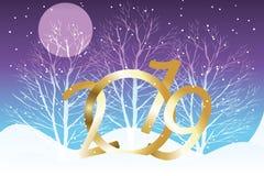 Splendere 2019 in 3D e paesaggio di inverno, luna e fiocchi di neve silenziosi Royalty Illustrazione gratis