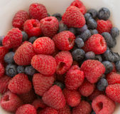 Splendid Arrrangement of Raspberries and Blueberries Royalty Free Stock Photography