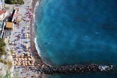 Splendid beach of the Sorrento peninsula seen from above. Beach on a top angle of view in Amalfi Coast, Italy royalty free stock images