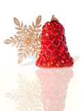 Splendid Christmas Bell Incrusted with Imitation Iewelry. Isolated Stock Photo