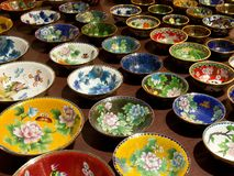 Splendid colored earthenware plates. They have a gorgeous gloss and very pure colors Royalty Free Stock Image