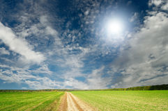 Splendid cumulus clouds  and autumn field. Stock Photography