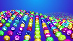 Socila media news balls in wavy lines. Splendid 3d rendering of social media services in round balls shaping concave surface. All balls are covered with funny Royalty Free Stock Image