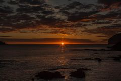 Splendid dawn from the beach of Mundaka.  Royalty Free Stock Photography