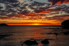 Splendid dawn from the beach of Mundaka.  Stock Photography