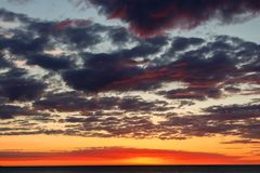Splendid dawn from the beach of Mundaka.  Royalty Free Stock Photo