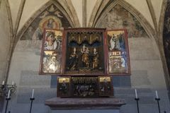 Splendid late Gothic wooden altar from the 15th century in the Chapel of St. Magdalena, St. Magdalena Kapelle, Hall In Tirol. Splendid late Gothic wooden altar royalty free stock photos
