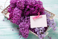 Splendid Lilac Flowers On Tray And Empty Tag On Turquoise Painted Wooden Planks. Stock Photography