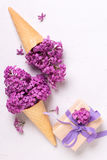 Splendid lilac flowers in waffle cones in box with present  on g. Rey textured background. Top view. Vertical image Royalty Free Stock Photo
