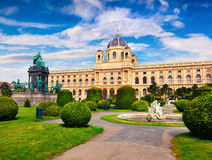 Splendid morning landscape in Maria Theresa Square with famous N. Aturhistorisches Museum Natural History Museum. Beautiful outdoor scene in Vienna, Austria Royalty Free Stock Image