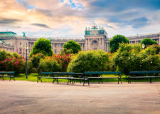 Splendid morning view of  Volksgarten with Hofburg Imperial Pala Royalty Free Stock Image