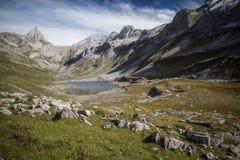 Splendid mountain lake in Swiss Alps, Glattalpsee Stock Photography