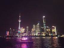 Splendid Night View of Shanghai Bund stock photography