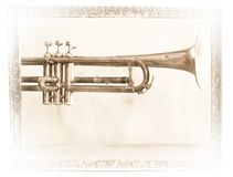 A splendid old jazz trumpet to be framed. The old jazz trumpet player Stock Photo
