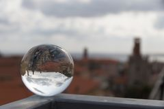 Panorama in a crystal ball. Splendid panorama reflect in a crystal ball Royalty Free Stock Photos