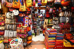 Splendid Peruvian shops in Cuzco Royalty Free Stock Photos
