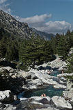 Splendid Restonica Valley, Corsica, France. Inland Corsica, splendid Restonica Valley - with natural pools on the river and exquisite mountains Royalty Free Stock Image