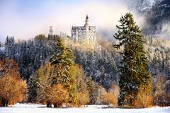 Splendid scene of royal castle Neuschwanstein and surrounding area in Bavaria, Germany Deutschland. Famous Bavarian destination sign at sunny snowy winter day Stock Photography