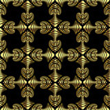 Splendid seamless pattern with golden decorative ornament on black background Royalty Free Stock Photography