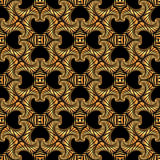 Splendid seamless pattern with rich golden decorative ornament on black background Royalty Free Stock Images