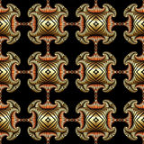 Splendid seamless pattern with shiny golden and bronze decorative ornament on black background Royalty Free Stock Images