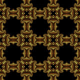 Splendid seamless pattern with shiny golden decorative elements on black background Royalty Free Stock Image