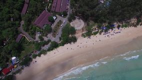 Splendid seashore & relaxing holiday, from a pilotless aircraft stock video