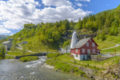 Splendid summer view with popular waterfall Steinsdalsfossen on Royalty Free Stock Image