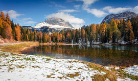 Splendid sunny scene on Antorno lake with Tre Cime di Lavaredo Royalty Free Stock Photo