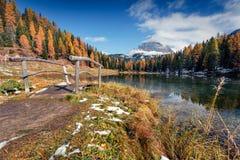 Splendid sunny scene on Antorno lake with Tre Cime di Lavaredo. Drei Zinnen mount. Colorful autumn landscape in Dolomite Alps, Province of Belluno, Italy Stock Images