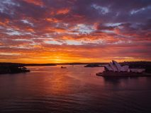 Splendid sunrise at the Sydney Harbour. Australia Royalty Free Stock Images