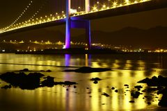 Splendid Tsing Ma Bridge night scene Hong Kong Royalty Free Stock Image