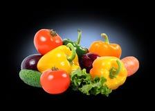 Splendid vegetable composition on black Stock Photography