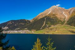 Beautiful view to Lago di Resia, Lake Reschen, Alto Adige, South Tyrol, Italy. Splendid view of lake Resia - Reschensee - South Tyro, Italy, Europe royalty free stock photography