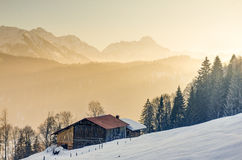 Splendid view from wooden cabin to the mountains of Allg�u Stock Image