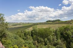 Aerial view of the vineyards of Barolo, Piedmont. The splendid vineyards of Barolo, in the province of Cuneo in the Italian region of Piedmont. Barolo is an royalty free stock photography