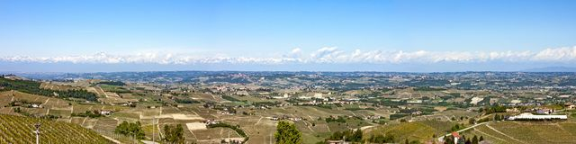 Aerial view of the vineyards of Castiglione Tinella, Piedmont. The splendid vineyards of Castiglione Tinella, in the province of Cuneo in the Italian region of royalty free stock photo