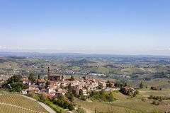 Aerial view of the vineyards of Castiglione Tinella, Piedmont. The splendid vineyards of Castiglione Tinella, in the province of Cuneo in the Italian region of stock photography