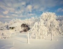 Splendid winter landscape in the Carpathian village. Stock Image